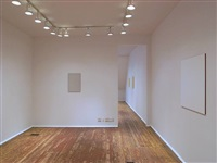 installation view of second room - from right: <u>visibility</u> [<u>studio</u>, and <u>doing</u> through doorway] and <u>subject</u> by tom benson